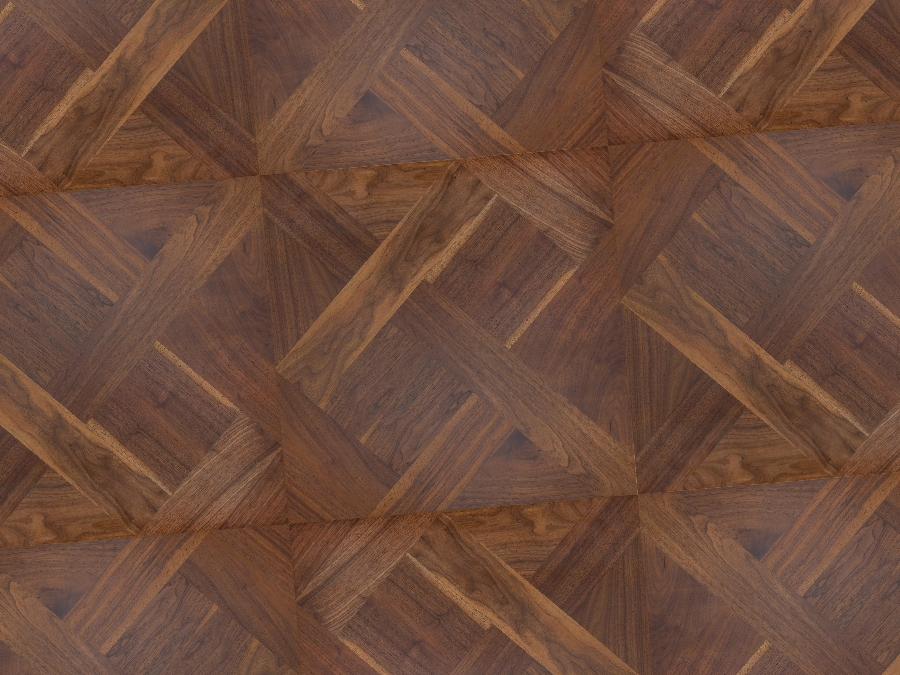 Walnut Mosaic parquetry, square parquetry